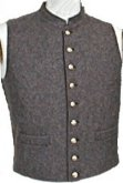 C.S. Civil War Military Standing Collar Vest - brown grey, American Civil War Uniforms