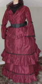 Ladies 1870s Day or Evening Bustle Dress of Silk Upholstery material, front view
