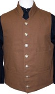 Civilain Single Breasted Stand-Up (Military Style) Collar Vest, 19th Century (1800s) Men's Clothing