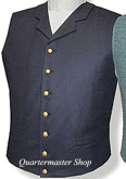 U.S. Civil War Military Notched Collar Vest - dark blue, American Civil War Uniforms
