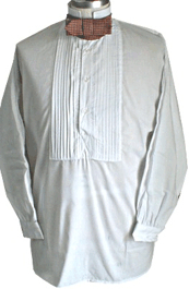 Civilain Pleated Front Dress Shirt (Collar Up) in White, 19th Century (1800s) Men's Clothing