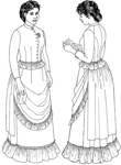 circa 1883-1884 Three Piece Ensemble (Bodice, Skirt & Overskirt). By Past Patterns #905, #906, #907. 19th Century