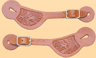 Spur Straps: Colorado Flower Stamped - Old West, by Colorado Saddlery