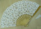 Ladies Hand Fan, White Lace with Natural Frame
