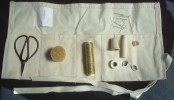 Sewing Kit (houswife) with needles, pins, scissors, needle safe, thimble and case
