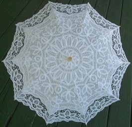 Ladies battenburg lace parasol
