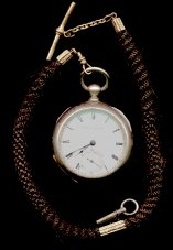 key wind pocket watch with human hair watch chain