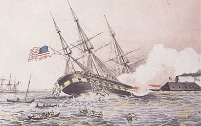 The CSS Virginia sinks the USS Cumberland