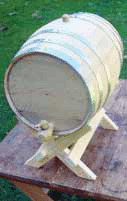 Charred Oak Barrel with Cross Bar Stand